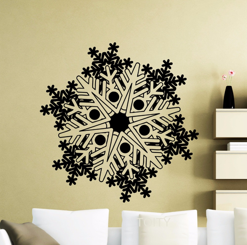 Snowflake wall sticker frozen winter new year christmas for Christmas wall mural plastic