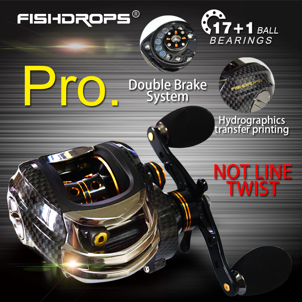 Fishdrops LB200 18BB Horgászcsévélő GT 7.0: 1 Horgászbot Casting - Halászat