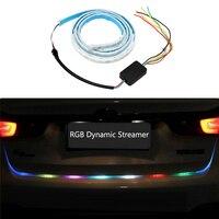 RGB LED Strip Lighting Car Rear Trunk Tail Light RGB Dynamic Streamer Brake Turn Signal Leds