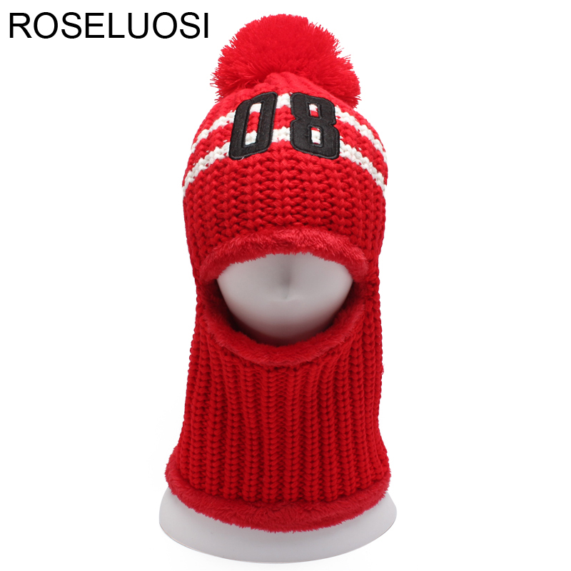 ROSELUOSI Women Winter Knitted Maks Hat 2017 Autumn Thick Warm Knitted Beanies Hats With Pompoms For Girls Gorras roseluosi 2017 thick warm winter hats for men letter embroidery knitted beanies women solid color knitted hat bone feminino