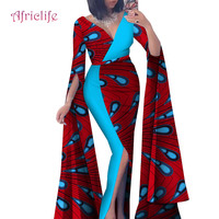 Today Deals African Bazin Fabric Dress For Basin Sexy Women Deep V New Design Patchwork Fork African Print Dresses Skirt WY4636