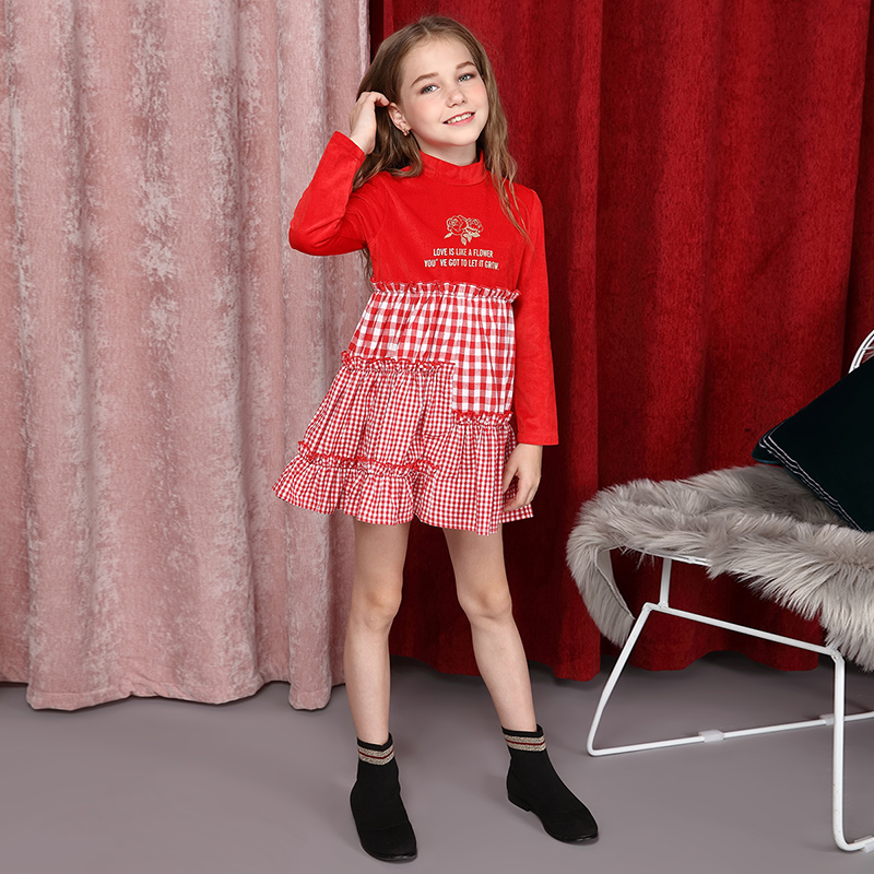 Girls fashion red and white plaid long sleeve dress 2018 new girls mid autumn collars