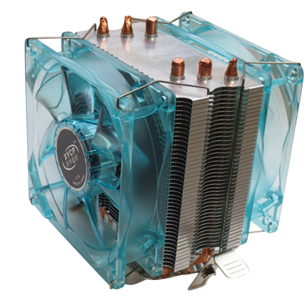 все цены на  Professional Dual Fan CPU Cooler Heat Sink Radiator with LED Light Mute Version Suitable for Intel for AMD 3 Copper Tubes  онлайн