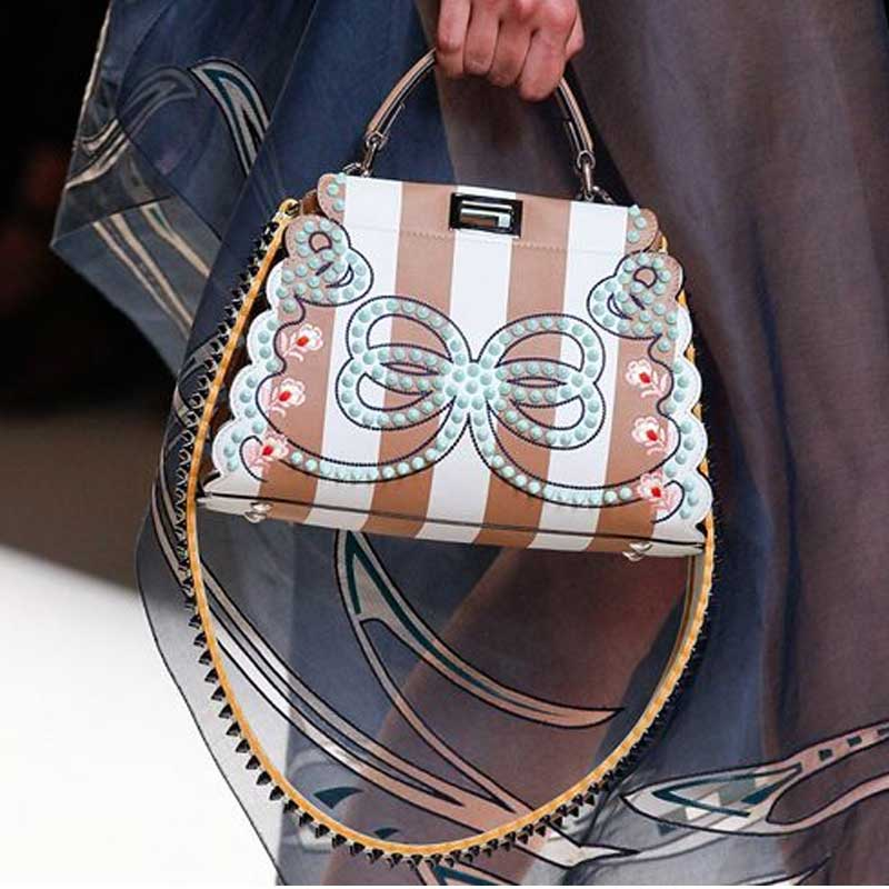 New 2017 Women Shoulder Bags Bow Embroidery Peekaboo Bag Rivet Waves Ladies Purse Famous Designer Handbags Tote Mother's Day 2016 women split leather handbags the waves peekaboo bags famous brands designer fashion ruffles handbag tote shoulder bag