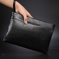 Men Business Fashion Famous Brand Quality Genuine Leather Long Wallet Large Capacity 2 Fold Soft Leather Hand Bag Fashion Wallet