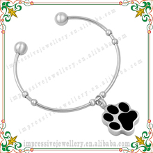CMJ5041 Black Pet Paw Print Urn Bracelet Cremation Jewelry for Ashes