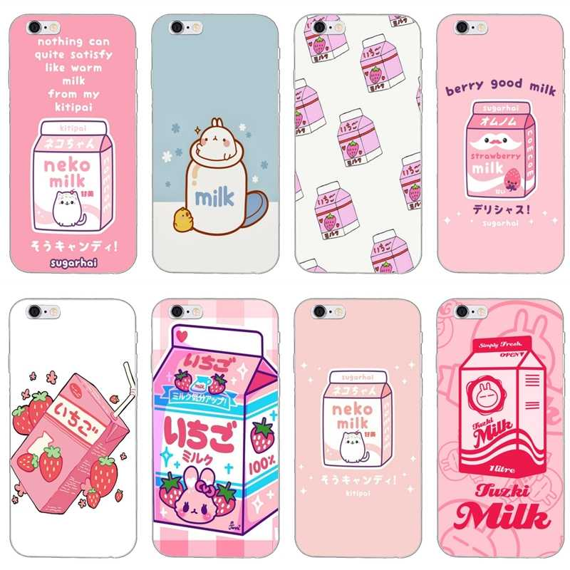 Kawaii Japanese Strawberry Milk Silicone Phone Case For Huawei P30 P20 P10 P9 P8 pro Lite plus P Smart Mini GR5 2019