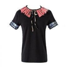 Мода 2017 Для женщин футболка весна новый короткий рукав Футболка Повседневное листьев лотоса Блёстки воротник Футболки