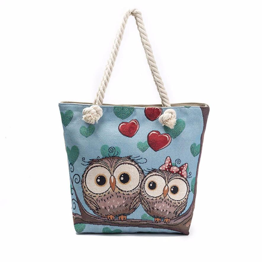 High Quality Women Owl Printed Tote Bag Handbag Linen Top-handle Shoulder Bag Lady Tote Purse Pocket Drop Shipping #F
