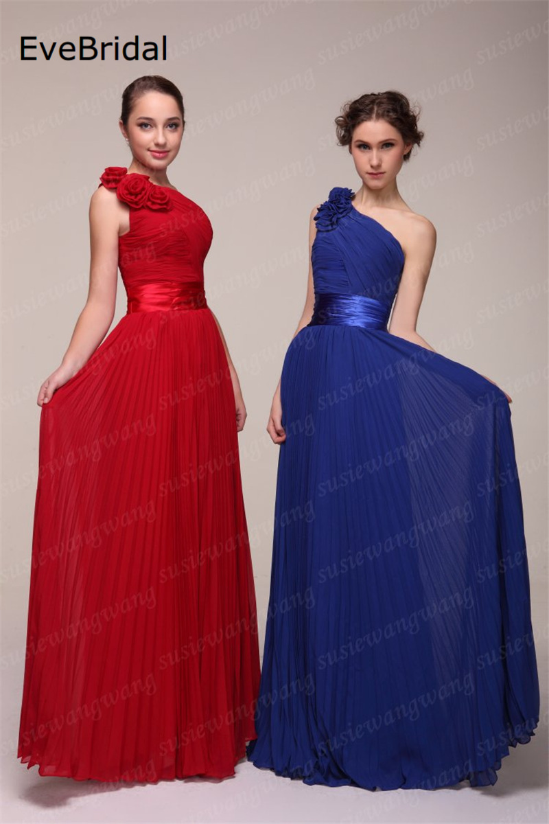 Wholesale New Stock 7 colors  Chiffon A line One shoulder Flowers Bridesmaid Dresses Size 4 6 8 10 12 14 16