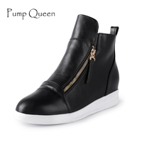 Size 42 Black Silver Red Women Ankle Boot Height Increasing Winter Shoes For Woman Top Leather
