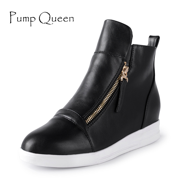 2016 Fashion Wedges Ankle Boot Causal Shoes For Woman Spring Fall Women Shoes Leather Black Silver Red Botas Mujer Large Size 42
