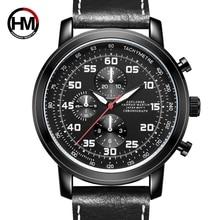 Hannah Martin Mens Fashion Casual Sport Watches Men Waterproof Leather Quartz Watch Man military Clock Relogio Masculino
