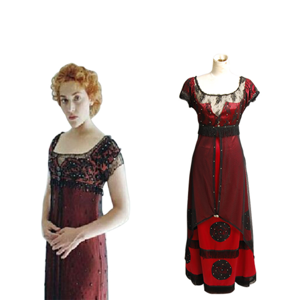 Titanic Rose Jump Dress Costume Victorian Cosplay Costume Halloween Carnival Costume Full Set