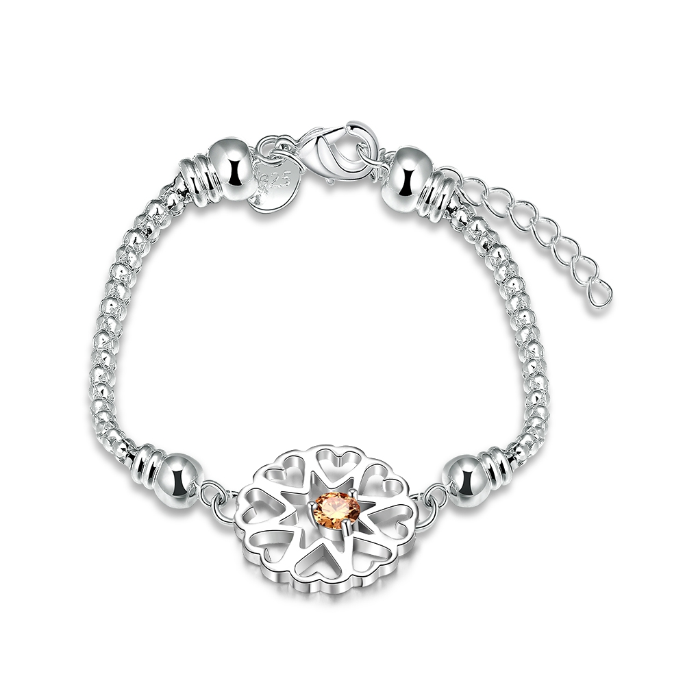 British fashion simple champagne zircon women's bracelet luxury sterling silver elegant women's jewelry valentine's day gift