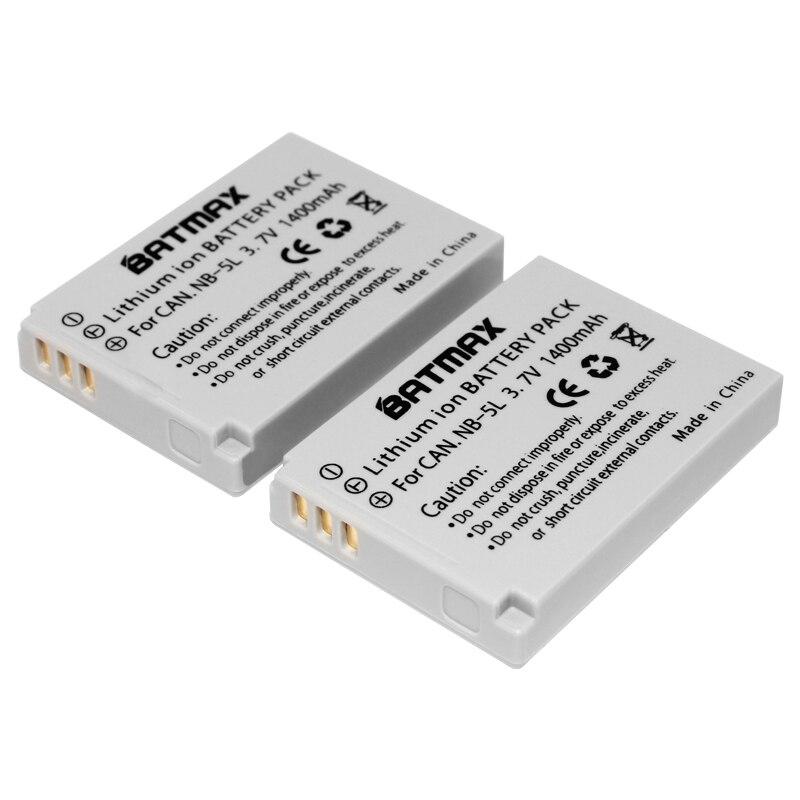Premium 2-Pack of NB-5L Batteries -1400mAh for Canon PowerShot SX230 HS, SX210 HS, SX200 HS, S100, S110 Digital Camera silver and black original lens zoom unit for canon powershot s110 digital camera repair part with ccd