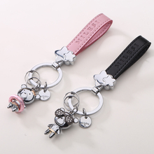 Bear Shape Keyring Couple Key Holder Metal Charm Keyring Car Trinket Gift For Lovers