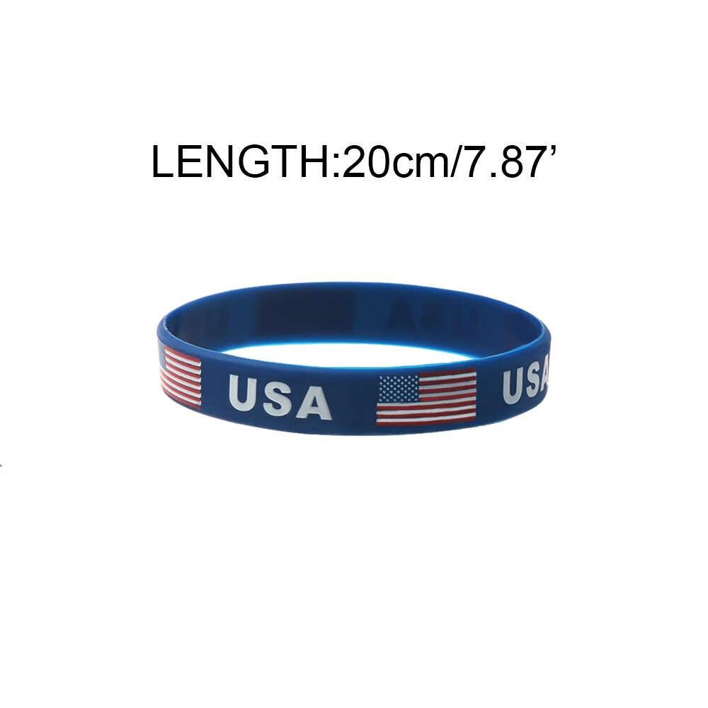 3 pcs O Azul Da Bandeira Americana EUA Pulseira de Silicone Gel De Sílica De Borracha Pulseira Jóias Mais Novo Verão Agradável Presente Especial Para amante