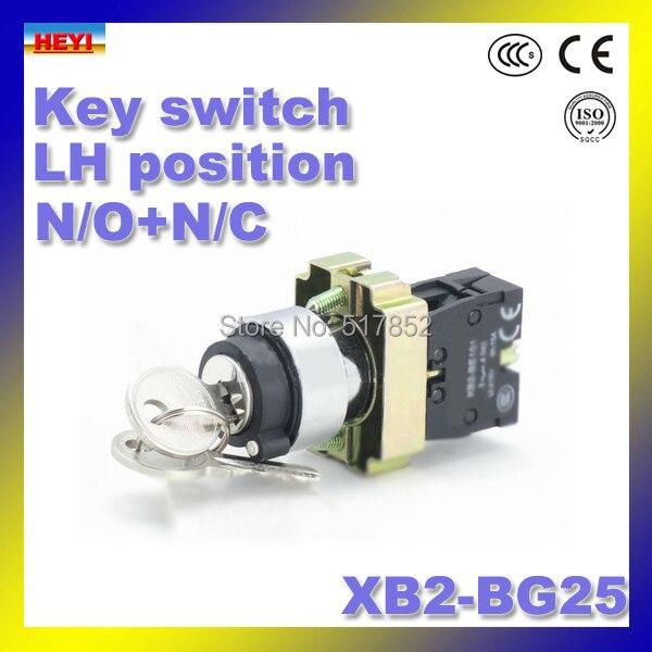 XB2-BG25 ключ переключатель 2 позиции с ключевые оставаться переключатель N/O + N/C 22 мм кнопка