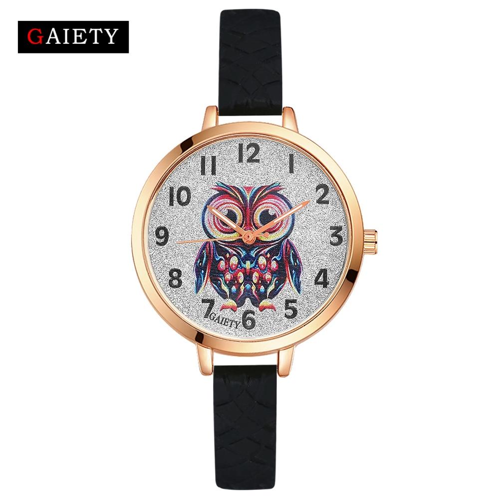 Gaiety Quartz Wrist Watch Women Fashion Silicone Strap Owl Dial Analog Sports Women Watch Female Classic Jewelry Black G286 набор для творчества color puppy сверкающая аппликация попугай