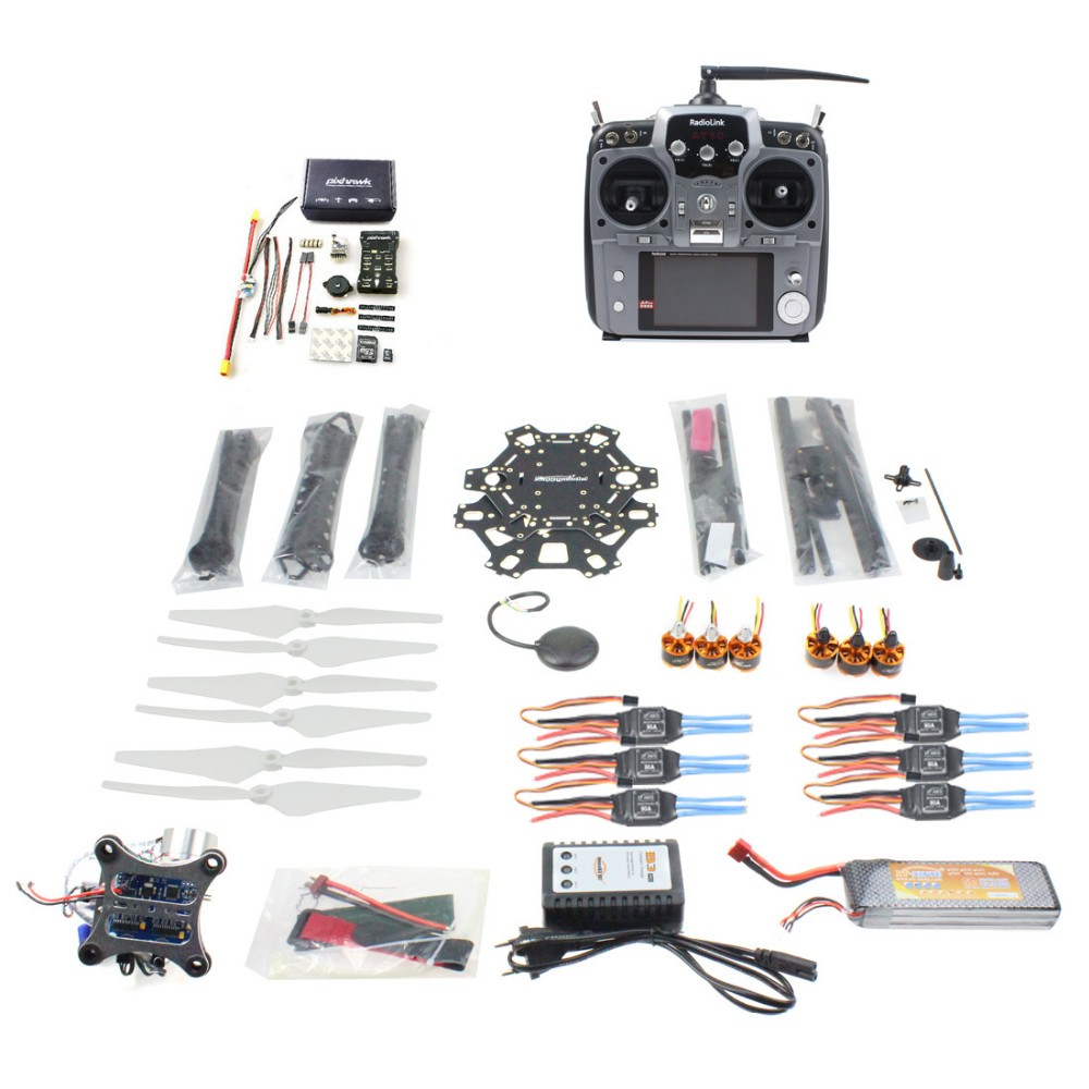DIY FPV Drone 6-axle Hexacopter Kit HMF S550 Frame PXI PX4 Flight Control 920KV Motor GPS Gimbal AT10 Transmitter