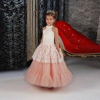 2017 Ayak Bileği Boy A Hattı Pretty Pembe Çocuklar Parti Elbiseler Halter Boyun İnciler Çiçek Kız Elbise Özel Made Mezuniyet Törenlerinde çocuklar