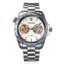 Tevise Часы Класса Люкс для Мужчин Orologio Uomo Авто Часы Механический Человек Часы Мужские Наручные Часы + Подарочная Коробка Свободный Корабль