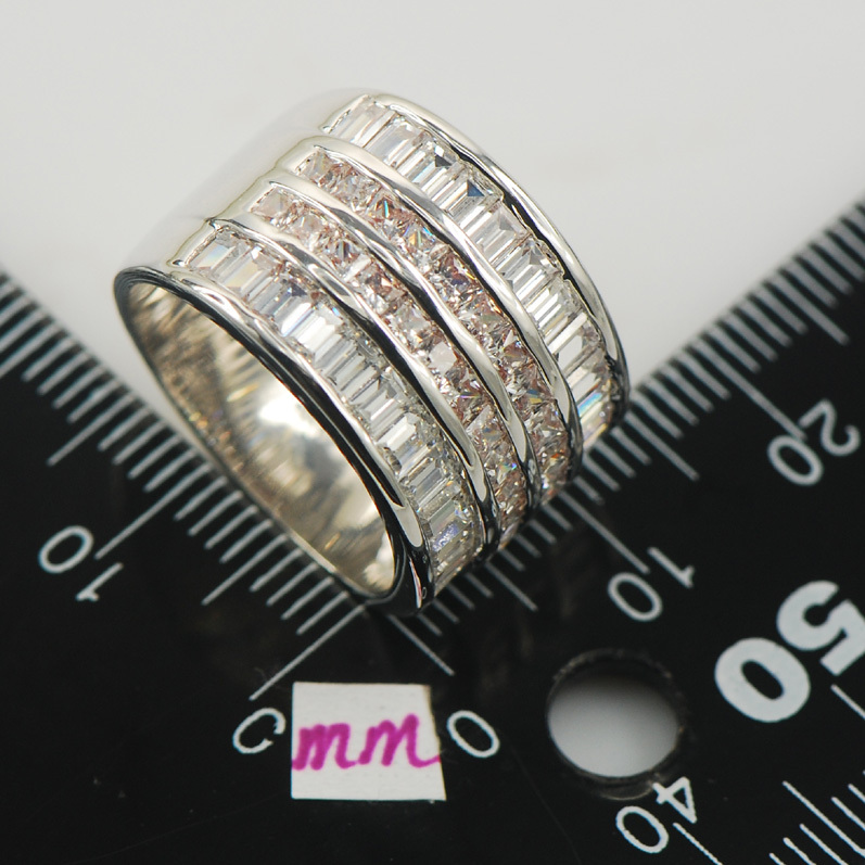 Micropave White Crystal Zircon 925 Sterling Silver Ring Size 6 7 8 9 10 11 A13