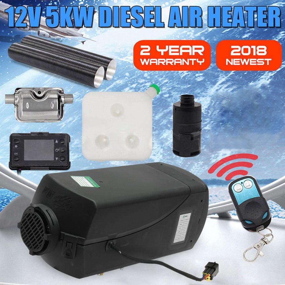 12 V 5000 W Monitor LCD Aria diesel di Riscaldamento a Combustibile Singolo Foro 5KW Per Barche Bus Auto Riscaldatore Con Telecomando di controllo e Silenziatore Per trasporto