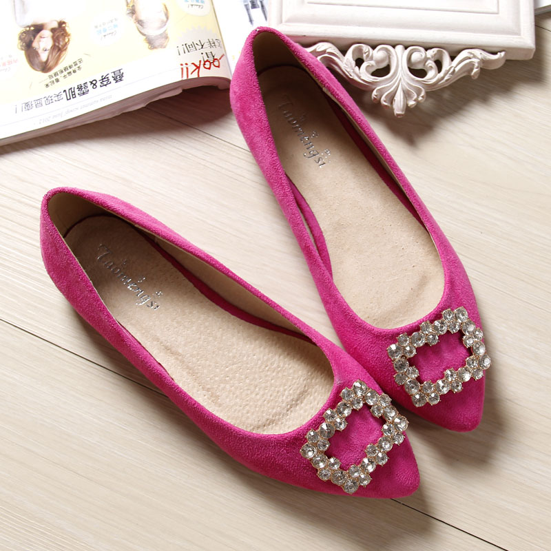 ФОТО Comfortable Women Flats Shoes Pointed Toe Rhinestone Suede Wedding Shoes Flat Dipper Shoes Big Size 33-43 zapatos mujer