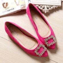 สะดวกสบายผู้หญิงรองเท้าแฟลตชี้เท้าRhinestoneรองเท้าหนังนิ่มแต่งงานรองเท้ากระบวยแบนขนาดใหญ่33-43 z apatos mujer