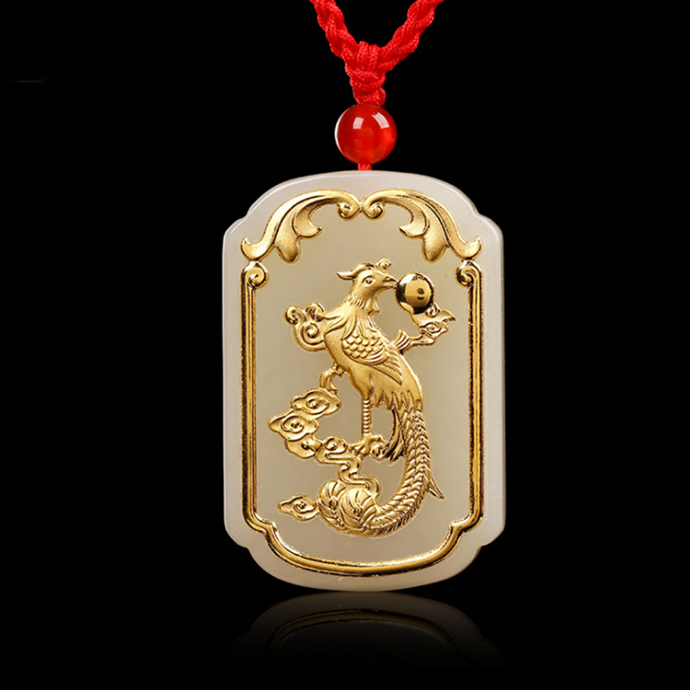 Women Pendant Necklace Jade Gold Good Luck Jewelry Phoenix Lucky Pendants Men Necklaces White Jade Fashion Jewelry купить недорого в Москве