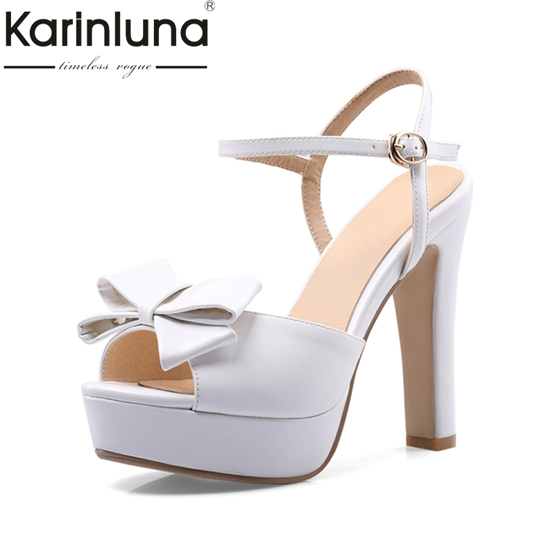 KARINLUNA New Big Size 32-46 Woman Party Sandals Platform Bowtie Peep Toe Super High Heels Wedding Shoes Women brand new women platform sandals t strap rivets high heels wedding shoes woman peep toe gladiator women luxury big size shoes