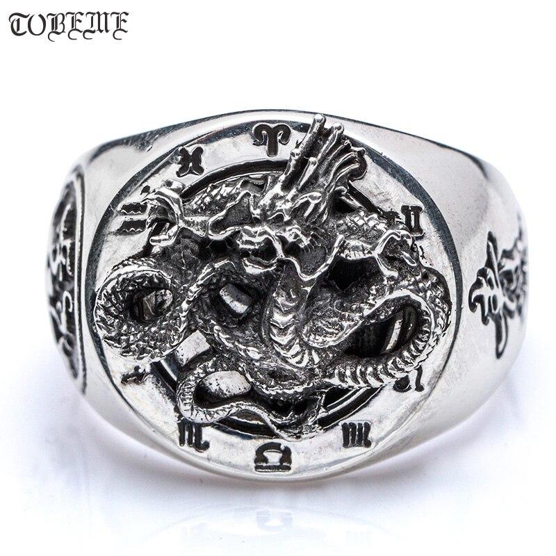 Fait à la main 100% 925 argent Dragon anneau Sterling Fengshui Taichi Yingyang symbole tigre Dragon anneau bonne chance homme anneau