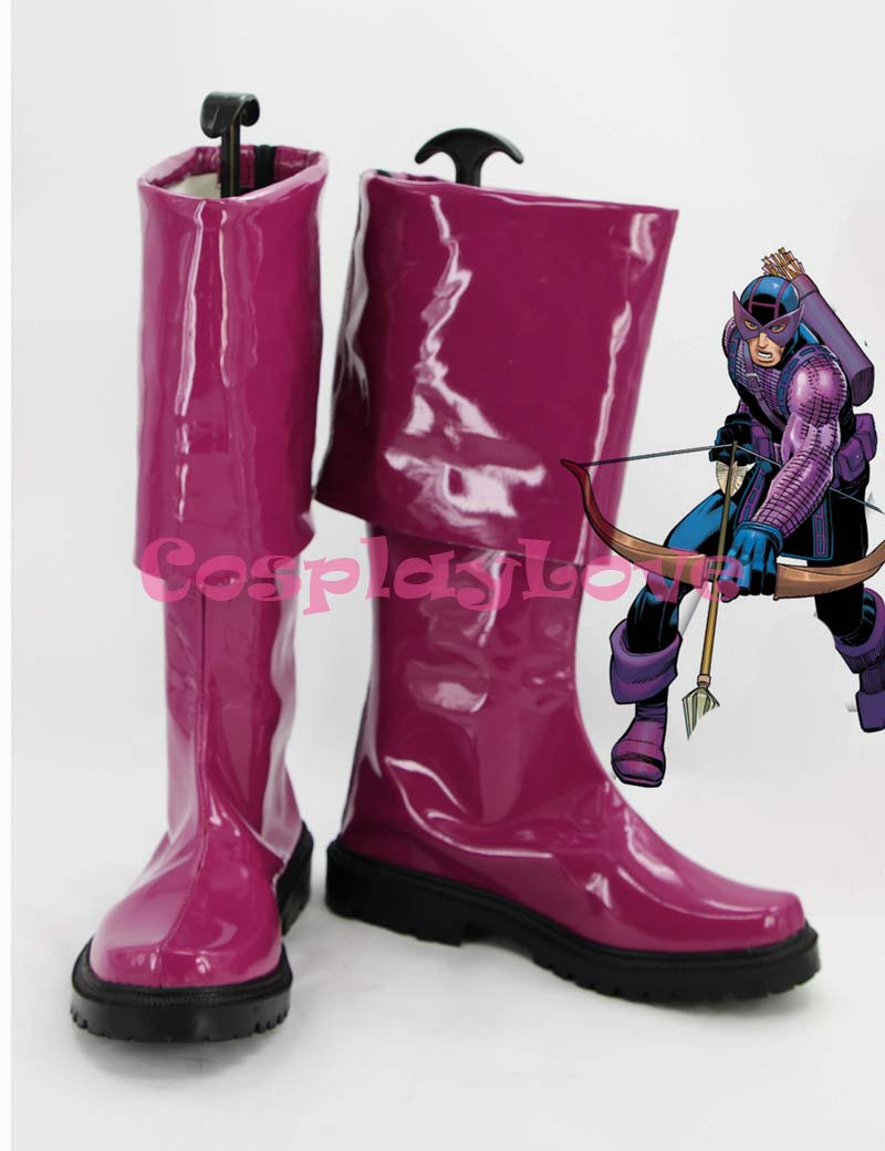 Newest Custom Made American Movie Marvels The Avengers Purple Hawkeye Cosplay Shoes Long Boots For Halloween