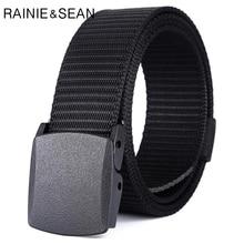 купить RAINIE SEAN Nylon Belt Buckle Men's Tactical Military Belt For Men Smooth Buckle Army Belts Quick Dry Waist Belt Strap Black дешево