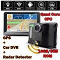 """Wifi Android 4.4 Câmera Do Carro DVR GPS Detector de Radar de Navegação Do Veículo DashCam 7 """"tela Filmadora HD1080P Completo 16 GB ROM FM"""
