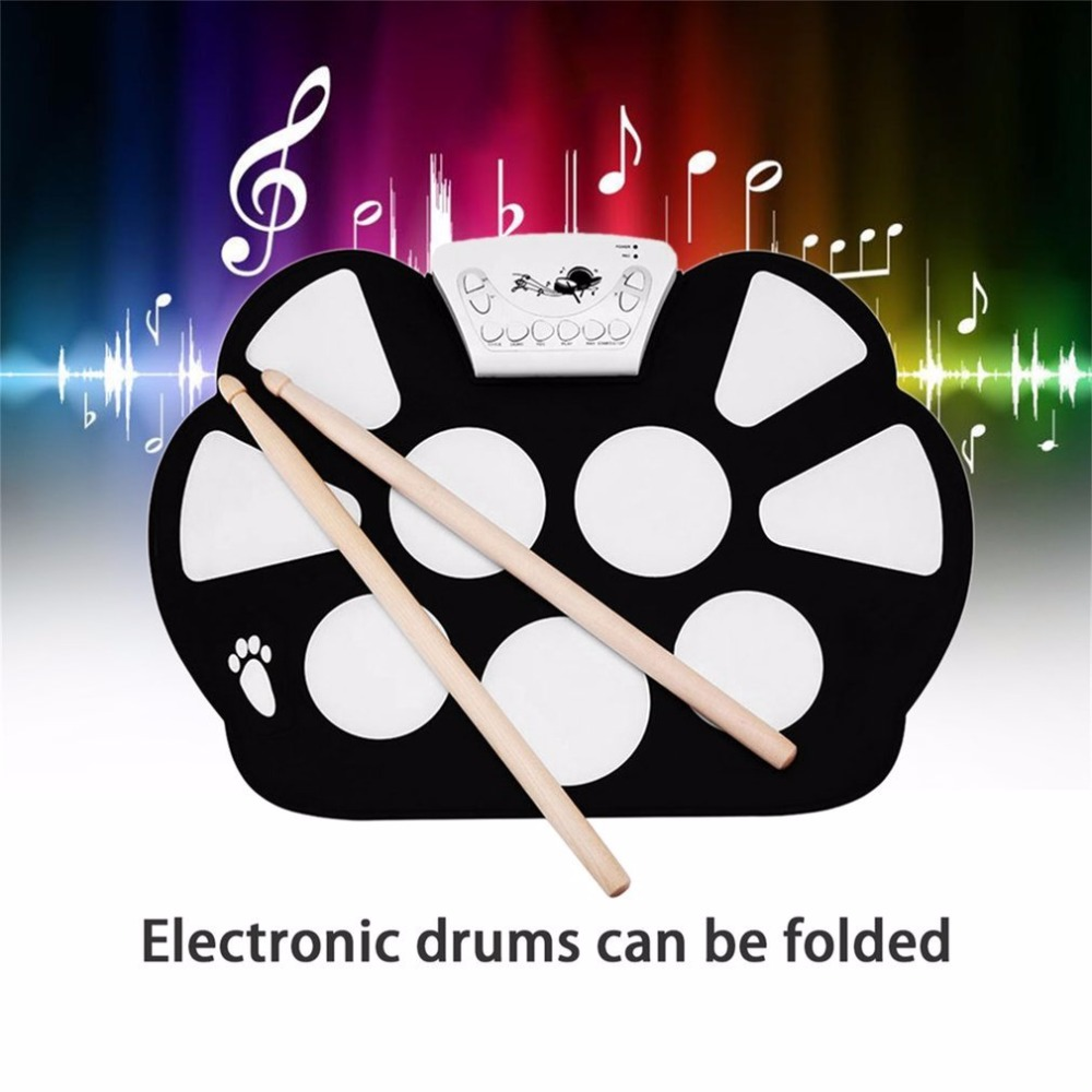 W758S Portable 9 Pads Digital USB Roll up Foldable Silicone Electronic Drum Pad Kit With Drum Sticks Foot Pedals drop shipping