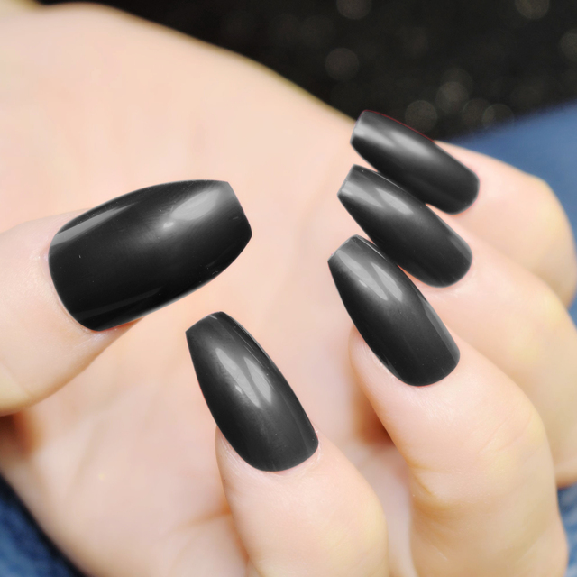 Black Ballerina Nail Tips Full Nails Coffin Shape Artificial Fake