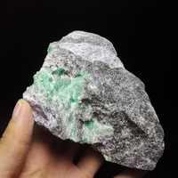 560g NATURAL Stones and Minerals Rock Emerald green symbiosis with quartz crystal gem stone ore sample collection ZML7 14