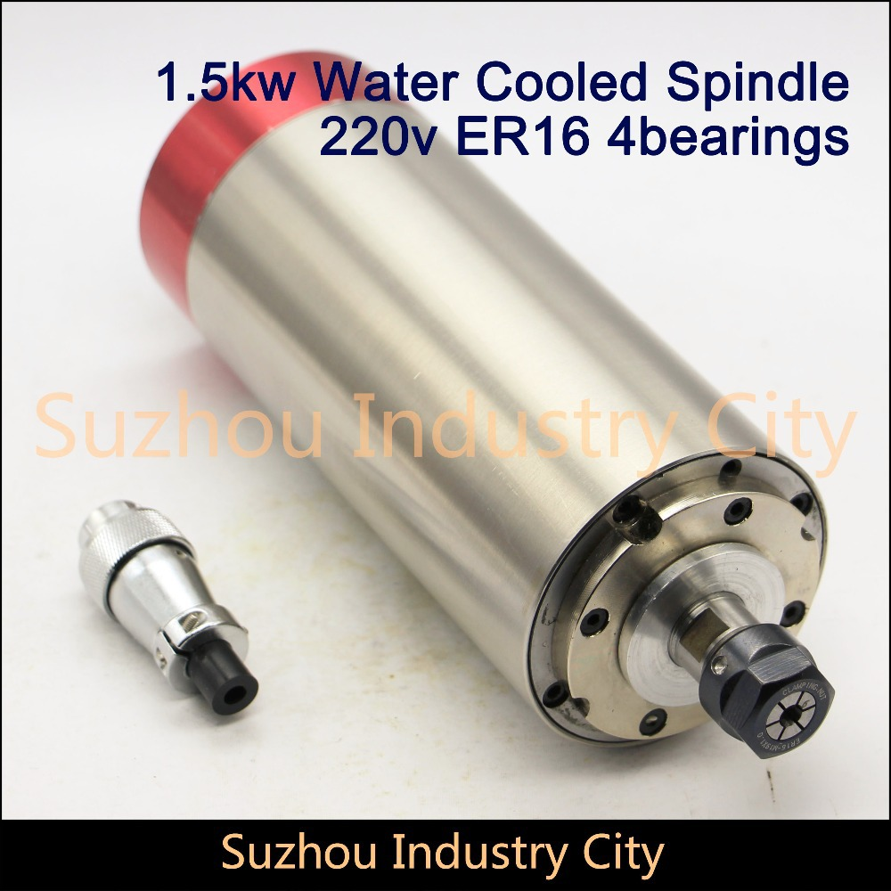 Water Cooled Spindle Motor engraving milling grind New Product 220VAC 1.5KW CNC 80x185mm ER16 4 Bearing cnc 2 2kw water cooled er20 germany four bearing bearing spindle motor engraving milling grind