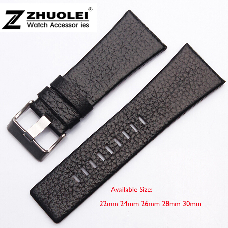 22mm 24mm 26mm 28mm 30mm Mens Watch Band Black Leather Strap Stainless Steel Buckle DZ watchband стоимость