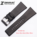 22mm 24mm 26mm 28mm 30mm Mens Watch Band Black Leather Strap Stainless Steel Buckle DZ1116