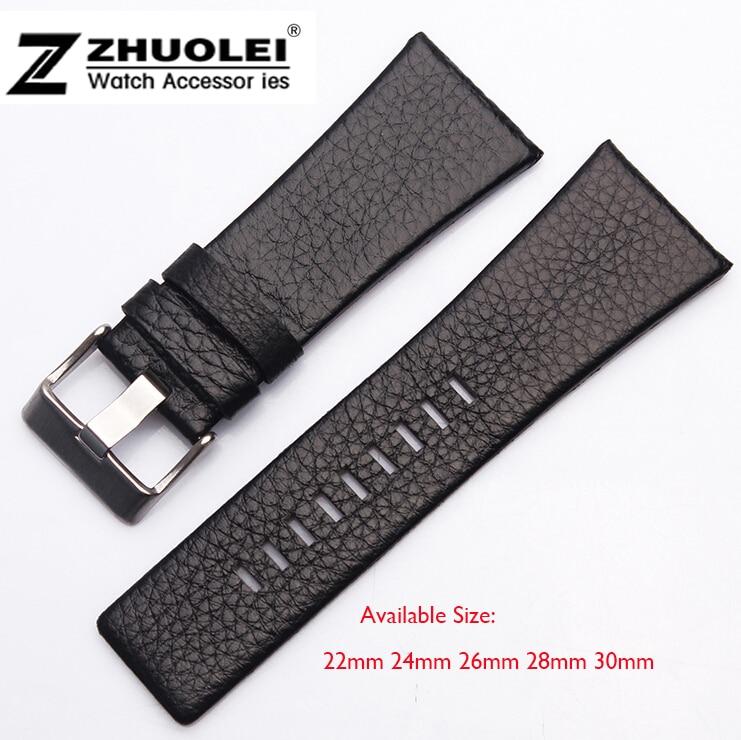 b493d5e842ea 22mm 24mm 26mm 28mm 30mm banda de reloj para hombre negro correa de cuero  hebilla de acero inoxidable DZ correa
