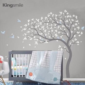 Наклейка на стену с большим деревом ветки птицы Съемные Виниловые наклейки для детской комнаты ПВХ плакат Настенные наклейки s для детской ...