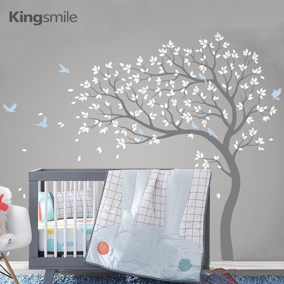 גדול עץ קיר מדבקת סניפי ציפורים נשלף ויניל משתלת אמנות מדבקות PVC פוסטר קיר מדבקות עבור תינוק ילדים חדר בית דקור