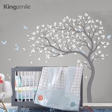Наклейка на стену в виде больших ветвей дерева, декор для детской комнаты с птицами, съемные виниловые наклейки на стену, наклейки из ПВХ для детской комнаты, домашний декор