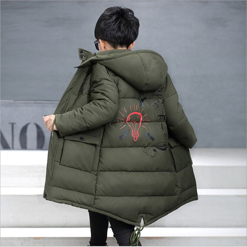 2017 Boys Winter Children Jackets Coat Fashion Hooded Long Jackets Kids Winter Cotton Clothes Jacket Boy Kids Outerwear Fit 6-14 children winter coats jacket baby boys warm outerwear thickening outdoors kids snow proof coat parkas cotton padded clothes