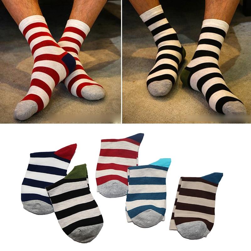 1 par de calcetines largos para hombre, calcetines largos con estampado de rayas coloridas, primavera, invierno, calcetines divertidos para hombres, calcetines casuales de rayas, cálidos