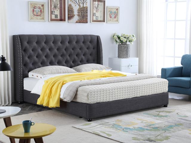 Mechones cabecera alta contemporáneo moderno tela de dormir suave cama muebles de dormitorio de matrimonio Hecho en China